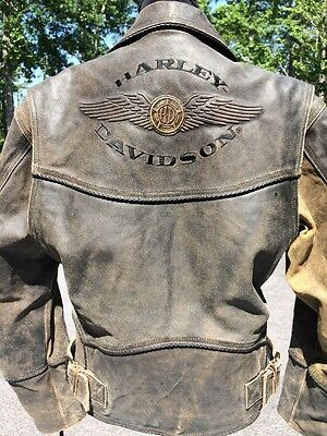Harley Davidson Billings Brown Leather Jacket Men's Small Distressed