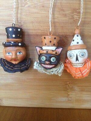 Bethany Lowe Allen Cunningham Halloween Trio Ornaments--Set of 3