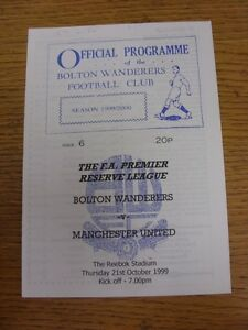 21-10-1999-Bolton-Wanderers-Reserves-v-Manchester-United-Reserves-Four-Pages