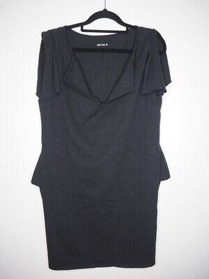 KITX black draped sleeves and v-neck dress/long top size L NEW