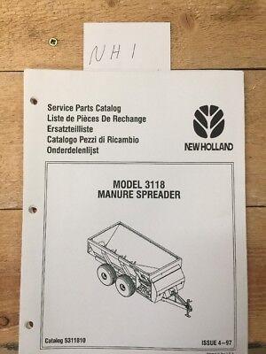 New Holland Model 3118 Manure Spreader Service Parts Catalog Manual