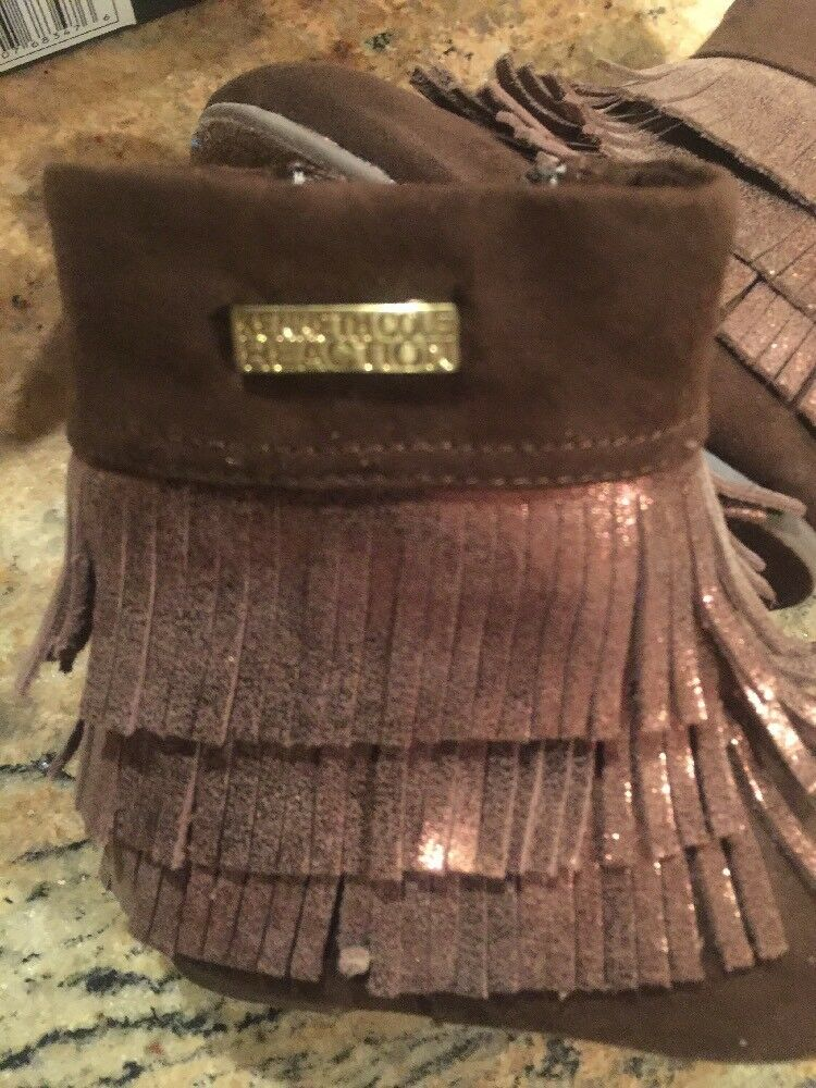 New Kenneth Cole Reaction Baby Girl Brown Leather Fringe Boots 5 1