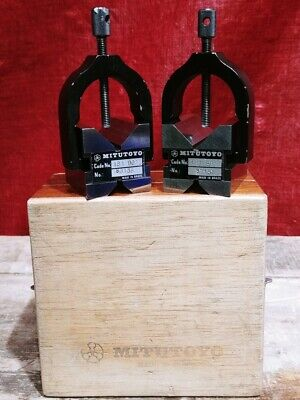 Mitutoyo 181-901 1 Hardened Steel V-block Set With Clamps And Box