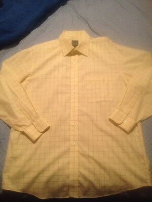Jos A Bank Travelers Collection Size L Yellow Baige Blue Grid Dress Shirt Button