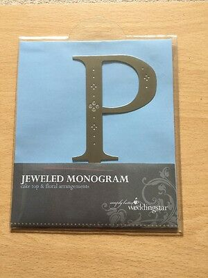Weddingstar Jewelled Monogram Cake Topper Letter P Brushed Silver Metal