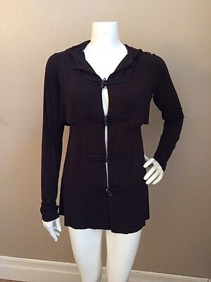Bailey 44 Anthropologie Dk Brown Rayon Hooded Toggle Closure Cardigan Sz M