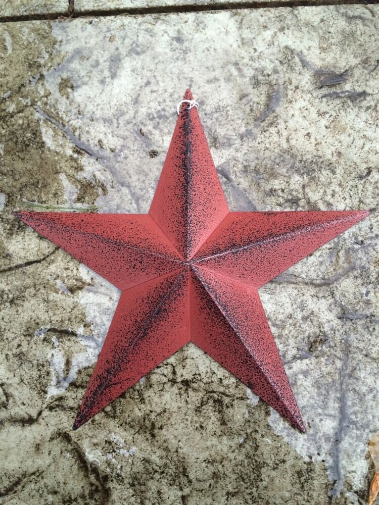 "Set of 3 ) RUST/BURGUNDY & BLACK BARN STARS 5.5"" PRIMITIVE COUNTRY RUSTIC"