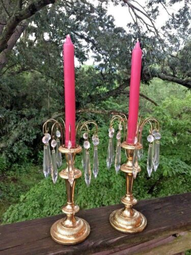 SHABBY CHIC Gold Tone Taper Holders Chandelier Antique Glass Tear Drops SET of 2