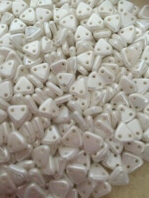 Triangle Beads Luster White 6mm Twin Holed 5g