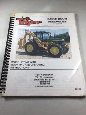Tiger Saber Boom For Deere 7210 Parts And Operating Instructions Manual