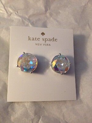 Kate Spade Large Gumdrop AB Iridescent Earrings Silver Tone T49154