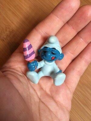 Smurf Smurfs Vintage 1980s Peyo Schleich Germany Baby Lollie Retro Toy Figure GC