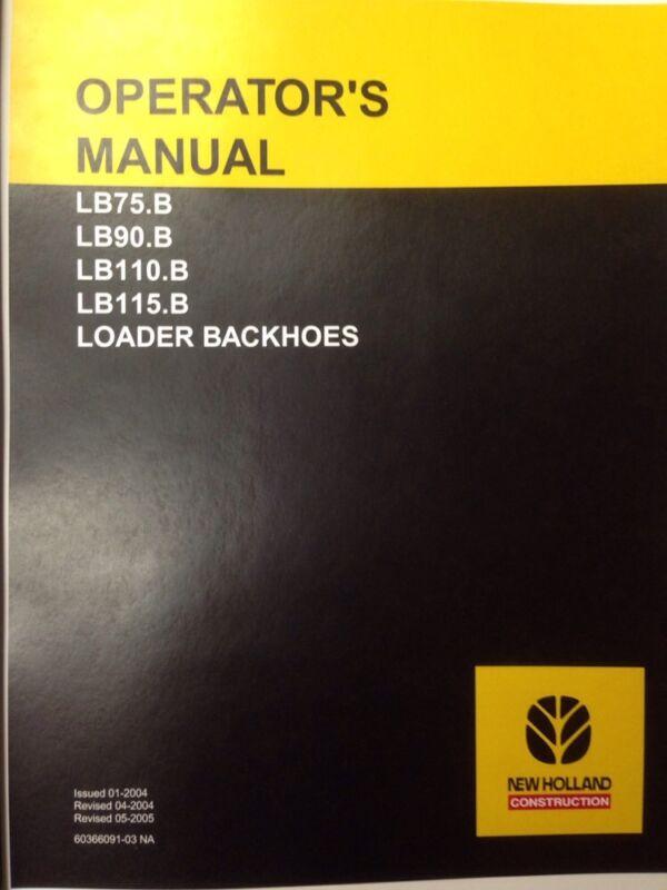New Holland LB75b loader backhoe operators manual operator operation maintenance