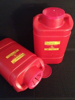 Lot Of 2 Bd Disposable Sharps Collector Extra Large 5 Gallon 5477 Red
