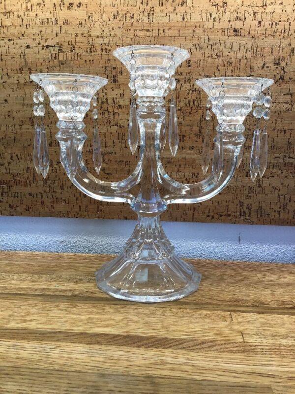 Candelabra Candlestick Holder  2 Arm Prisms 14 Bobeches  Glass