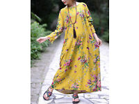 Chinese Style Floral O-Neck Long Sleeve Maxi Dress For Women Size 5XL Size 24