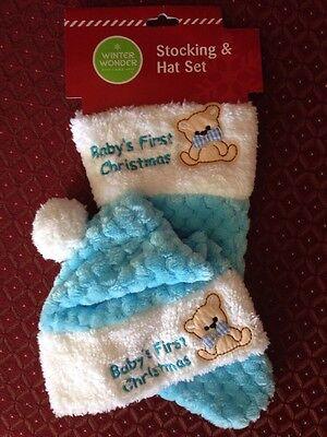 BABY BOY'S FIRST CHRISTMAS 1st Xmas Blue 2 Pc Teddy Bear Hat & Stocking Set ~NWT