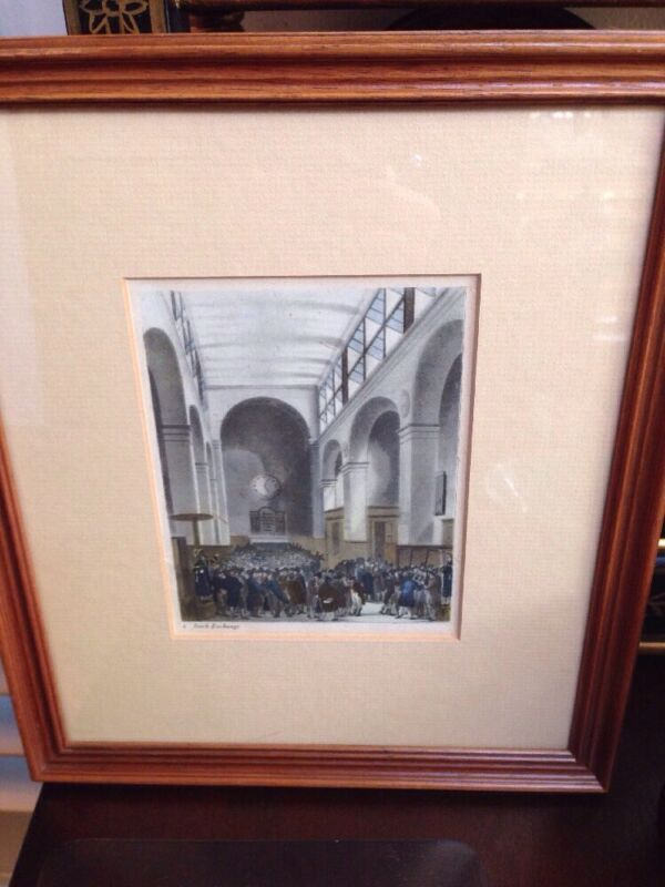 Antique framed/matted  hand-colored print STOCK EXCHANGE (LONDON??) MUST SEE
