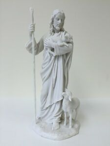 Jesus The Good Shepherd Statue Holding Lamb Sculpture Figure Marble White 11.5
