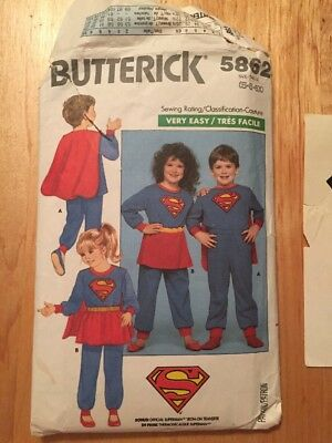 Butterick 5862 Childs Superman Supergirl costume sewing pattern very easy 5 6 6x - Very Easy Costumes