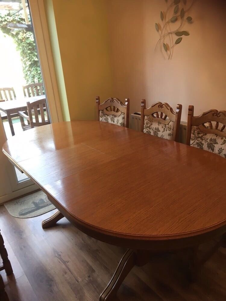 Solid oak wood dining table and chairs