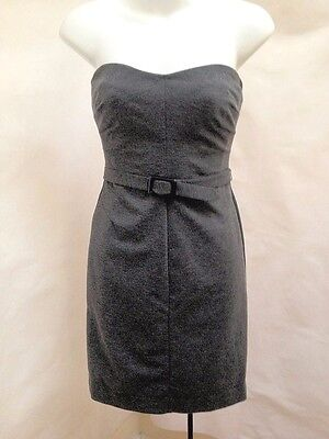 Banana Republic 0 XS Sheath Dress Gray Ponte Knit Strapless Belted Made in USA