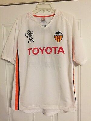 Toyota Valencia Soccer Jersey Loa Soledad White Orange Black Stripe sz Large EXC Orange Striped Soccer Jersey