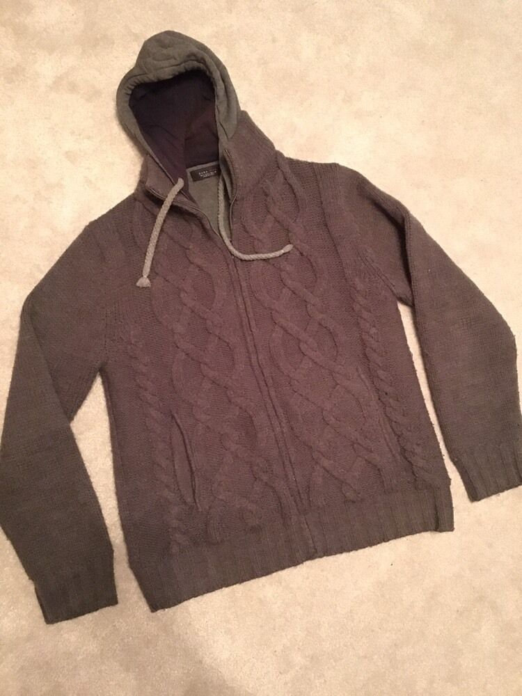 Zara grey woollen hoody, lined, size L