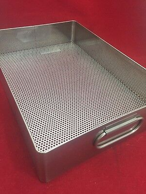 Stainless Steel Instrument Tray Whandles Perforated Bottom 15x10.5x3.5