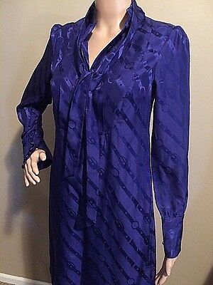 FABULOUS!! Banana Republic Royal Blue Printed Silk Scarf Neck Shirt Dress Sz XS