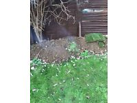 Rubble, top soil, paving blocks