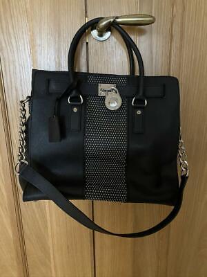 Michael Kors Womens Handbag Black Studded Silver Tone Hard Ware RRP £349