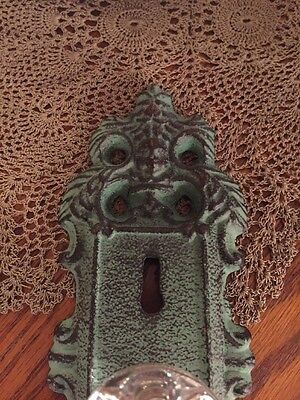 Cast Iron Door Plate With Acrylic/Glass Knob In Antique Turquoise/Teal Accent