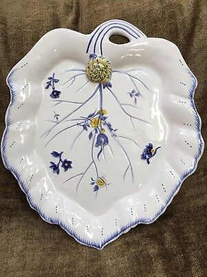 Spode Imperial Garden Leaf Shaped Serving Platter Chop Plate W  Snail 14