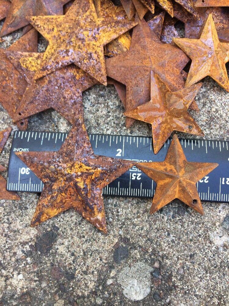 "Set 20  Rusty Stars 10- 2.25"" & 10- 1.5"" Country Metal Barn Star Craft Supplies"