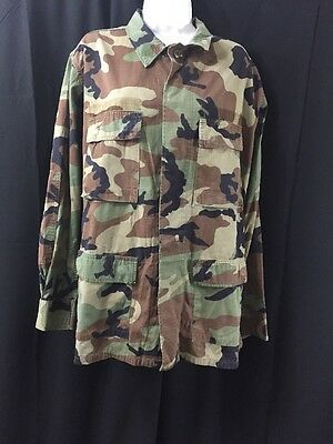 BDU Summer Woodland Camo Military Uniform Long Sleeve Shirt Coat Battle Dress - Woodland Camo Bdu Military Shirt
