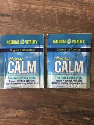 2 Natural  Vitality Natural Calm Original Supplement  12 Oz Packets Magnesium