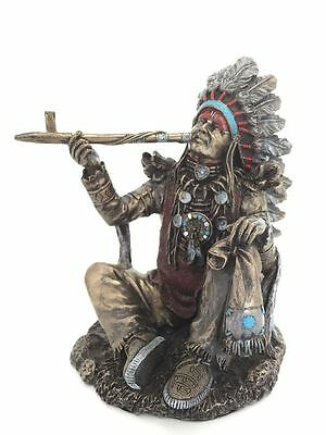 Native American Indian Chief Smoking Peace Pipe Statue Sculpture Figurine