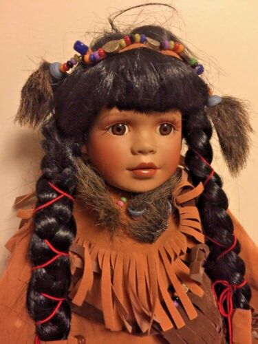 """Vintage NATIVE AMERICAN INDIAN 12"""" DOLL Pocahontas Wolf Turquoise Beads OOAK"""