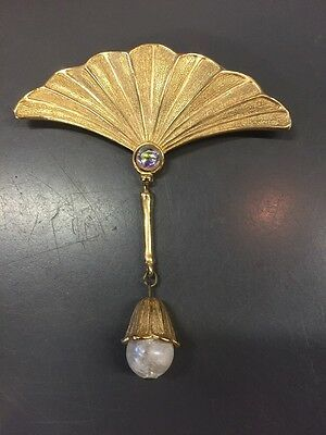 Vintage Jj Jonette Fan With Dangling Bead Pin Brooch Gold Tone