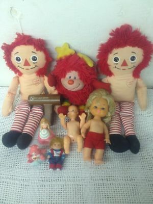 Lot VTG Girl Toy Raggedy Ann Rainbow Brite Sprite Care Bear Barbie Bouncing Baby