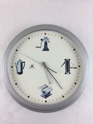 Unique Wall Clock with Kitchen Theme Retro Style Appliances 12 Face 15 Frame