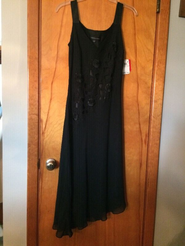 NWT Adrianna Silk Overlay Cutouts Beads Asymmetrical Little Black Dress 8