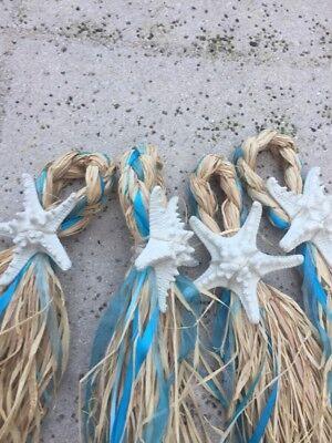Beach Chair Decorations (Beach Starfish Turquoise Blue Ribbon Chair Decoration Birthday Wedding)