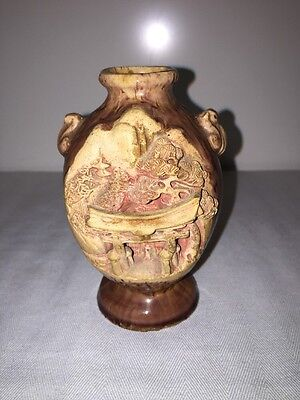 Vintage Japanese Banko Ware Pottery Vase Hand Carved Temple Scene Japan