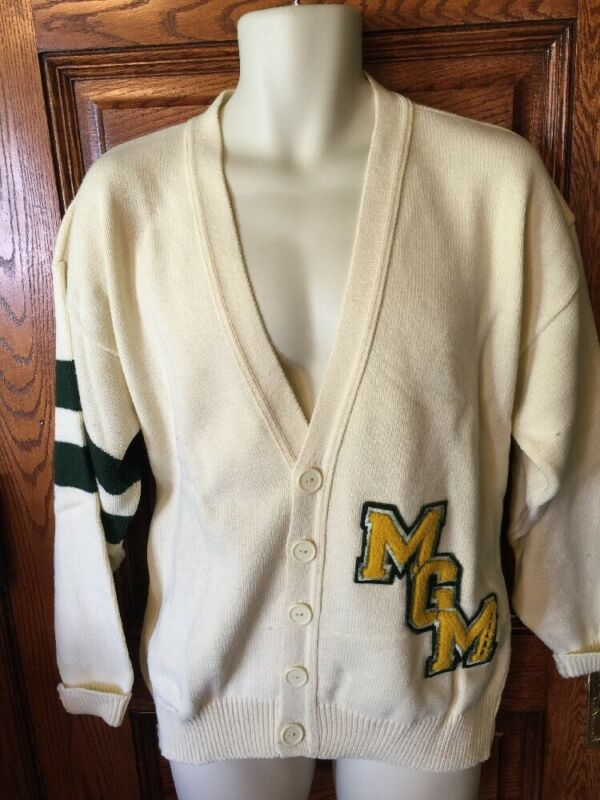 Super RARE! Vintage MGM GRAND Las Vegas Varsity Style Cardigan SWEATER, Large