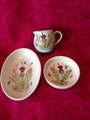 3 Buchan Stoneware Items Portobello Scotland Jug & 2 Dishes