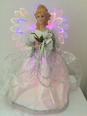 """Lighted Porcelain Angel Christmas Tree Topper 10"""" Silver & White ~ FREE Shipping"""