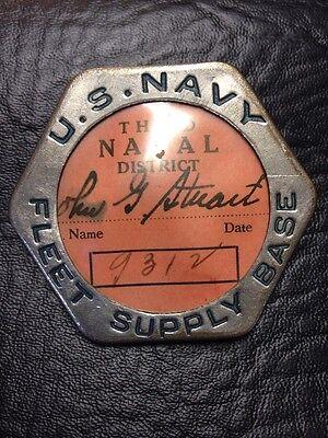 US Navy Badge 3rd Fleet Supply Base Badge WWI WWII Bastian Bros. Badge Co.