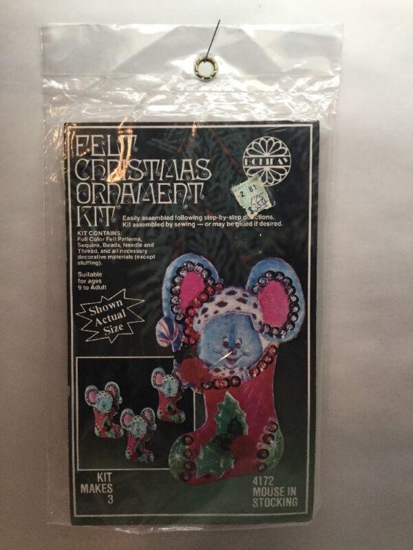 Christmas Mice Felt Ornament Kit #4172 Stocking Mouse holiday whimsical vtg B1
